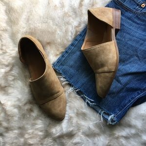 Tan Faux Leather Cutout Ankle Mules Shoes